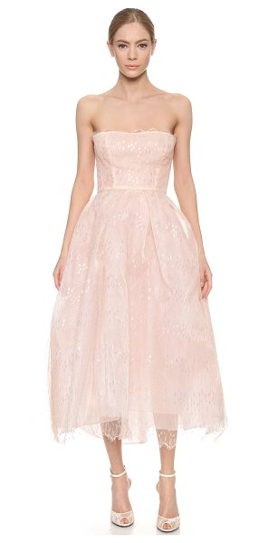 Monique Lhuillier Bridesmaids Iridescent lace strapless dress in blush - Shimmering, iridescent lace lends ethereal charm to this...
