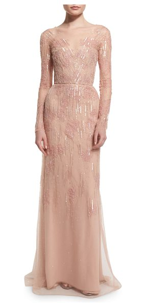 Monique Lhuillier Bridesmaids Long-sleeve embellished charmeuse column gown in light pink