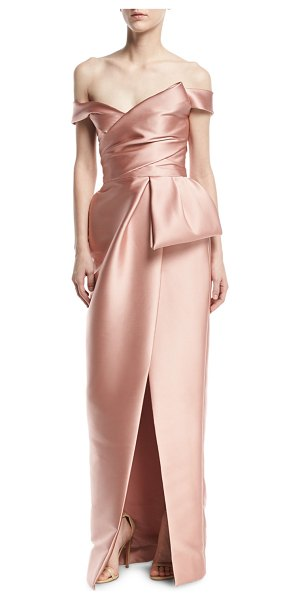 Monique Lhuillier Bridesmaids Off-the-Shoulder Mikado Tulip Gown in blush - Monique Lhuillier architectural gown in lustrous mikado....