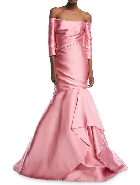 Monique Lhuillier Bridesmaids Off-the-Shoulder Tulip Gown in rose pink - Monique Lhuillier evening gown in faille....