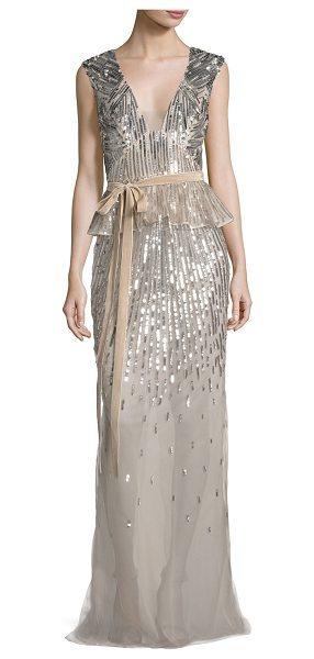 Monique Lhuillier Bridesmaids Sequined V-Neck Peplum Gown with Velvet Belt in rose gold - Monique Lhuillier silk chiffon gown with metallic degrad...