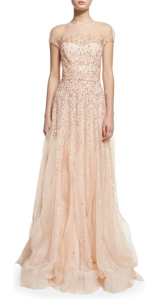 Monique Lhuillier Bridesmaids Short-sleeve beaded tulle illusion gown in blush - Monique Lhuillier beaded tulle illusion gown. Round...