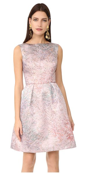 Monique Lhuillier Bridesmaids sleeveless dress in rose pink - An elegant brocade Monique Lhuillier cocktail dress with...