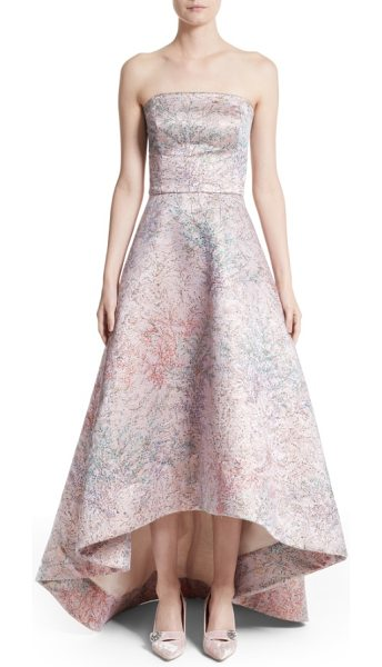 MONIQUE LHUILLIER BRIDESMAIDS strapless high/low ballgown in rose pink - Shimmering Italian brocade in a pale palette with...