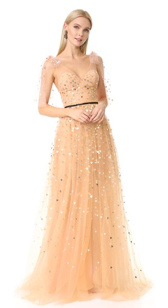Monique Lhuillier Bridesmaids v neck tulle gown in blush - A sprinkling of metallic, heart-shaped paillettes brings...
