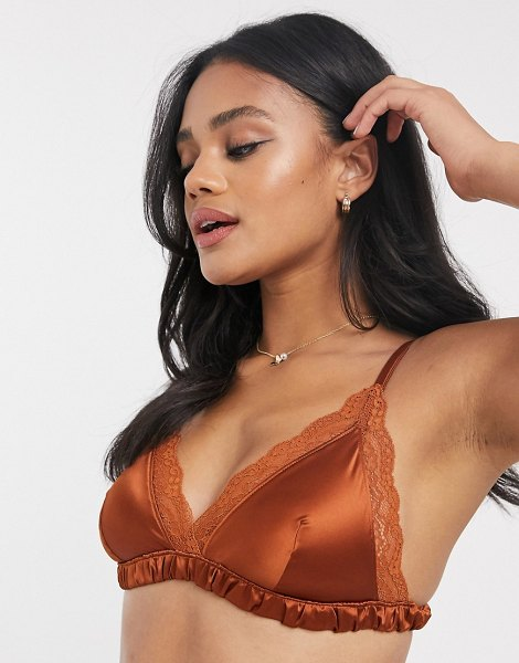 Monki agata recyled satin bralette with lace trim in rust-brown in brown