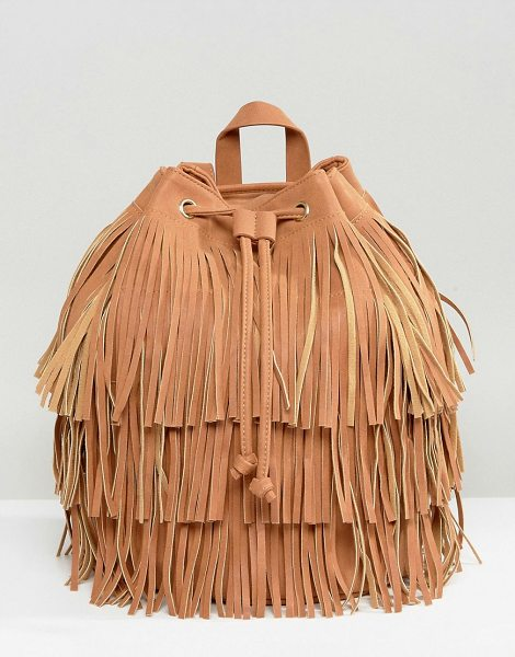 "MONKI Backpack in tan - """"Cart by Monki, Textile outer, Fringe finish, Fully..."