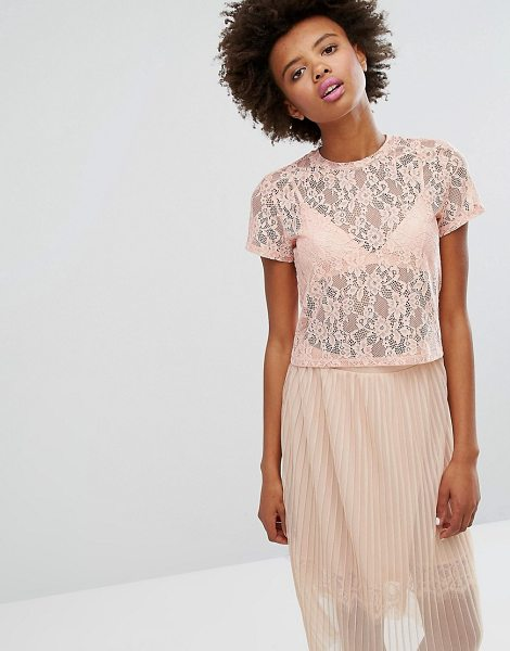 """Monki boxy lace t-shirt in pink - """"""""T-shirt by Monki, Sheer floral lace, Crew neck,..."""
