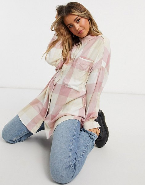 Monki carrie organic cotton check plaid shirt in pink in pink