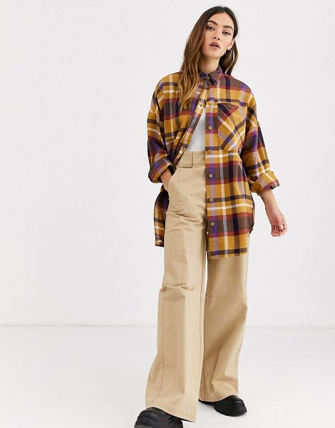 Monki check soft flannel oversized shirt in multi-beige in beige