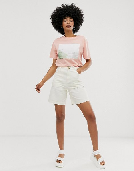 Monki city shorts in off white in beige