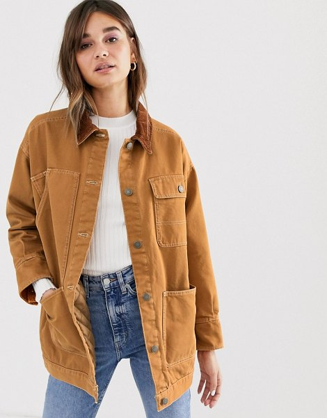 Monki denim jacket with quilted lining and cord collar in rust in brown