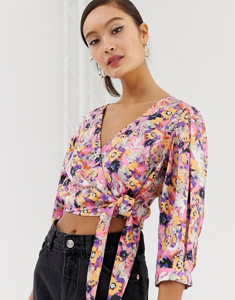 Monki floral print tie front cropped blouse in pink in pink