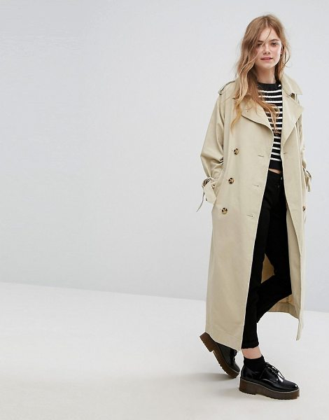 "Monki Heritage Trench Coat in beige - """"Trench coat by Monki, Smooth woven fabric, Point..."
