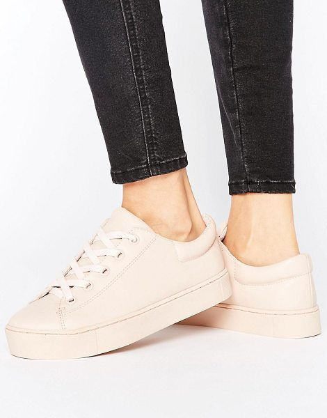 Monki Lace Up Flatform Sneaker in pink - Sneakers by Monki, Faux-leather upper, Lace-up...