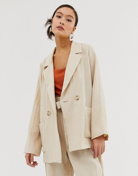 Monki linen mix blazer in beige in beige