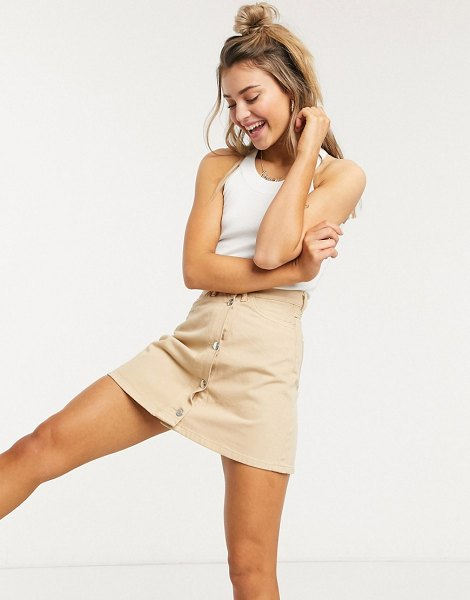 Monki mary denim skirt in beige in beige