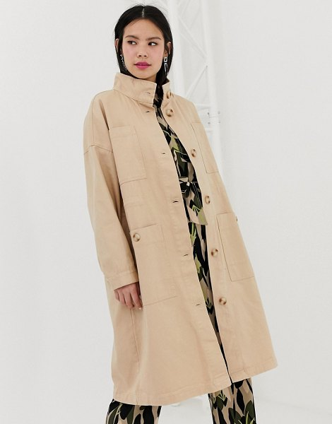 Monki midi lightweight coat with oversized pockets in beige in beige