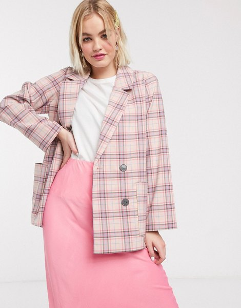 Monki multi check double breasted blazer in pink in pink