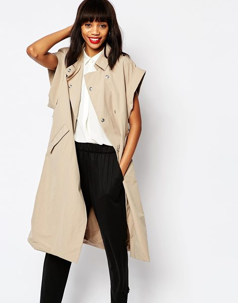 Monki Oversized Trenchcoat in beige - Coat by Monki, Woven fabric, Point collar, Double...