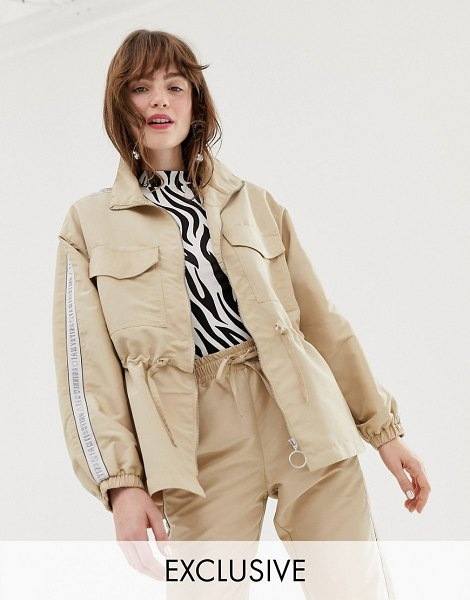 Monki oversized utility jacket with drawstring in beige in beige