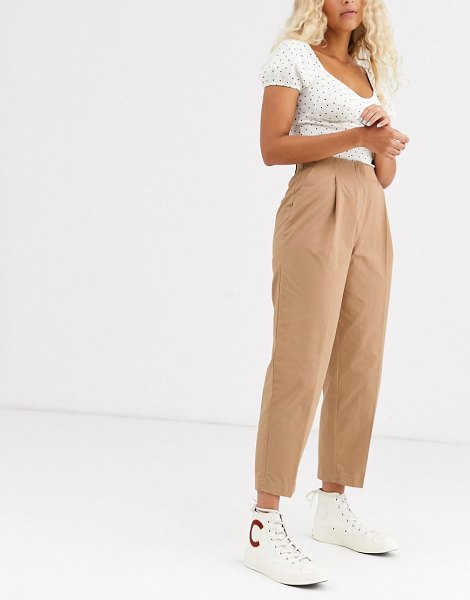 Monki pleated peg pants in dark beige in beige