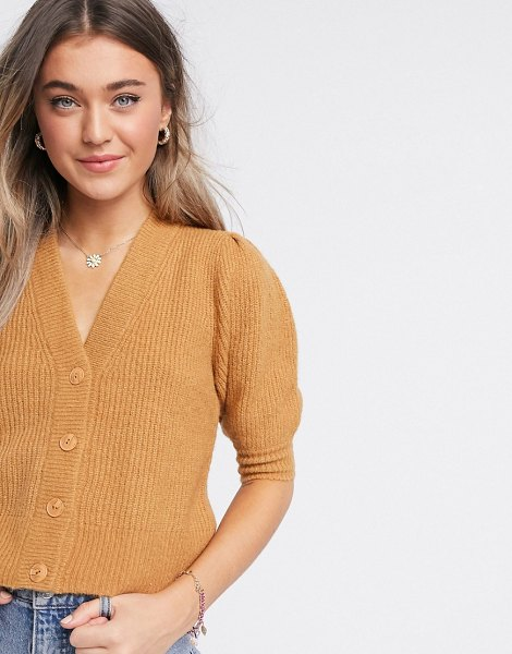 Monki puffy fluffy rib short sleeve cardigan in beige-brown in brown