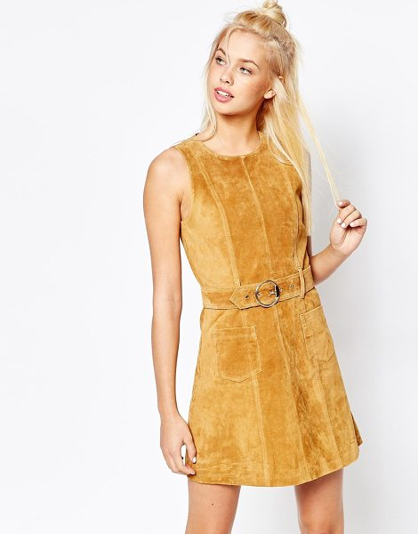 Monki Real Leather Suede Skater Dress in brown - Dress by Monki, Lined suede, Round neckline, Pin-buckle...