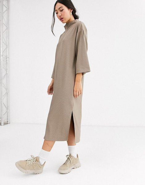 Monki ribbed midi t-shirt dress with side slits in beige in beige
