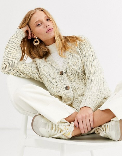 Monki textured cropped cardigan in dark cream in cream