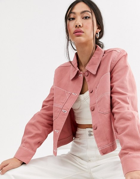 Monki utility button up jacket in pink in pink