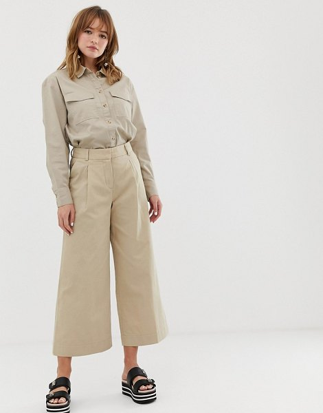 Monki wide leg cropped pants in beige in beige