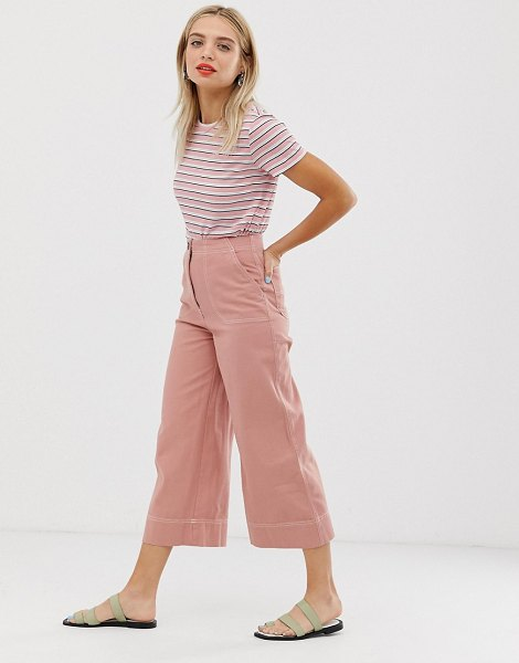 Monki wide leg pants with contrast stitching in pink in pink