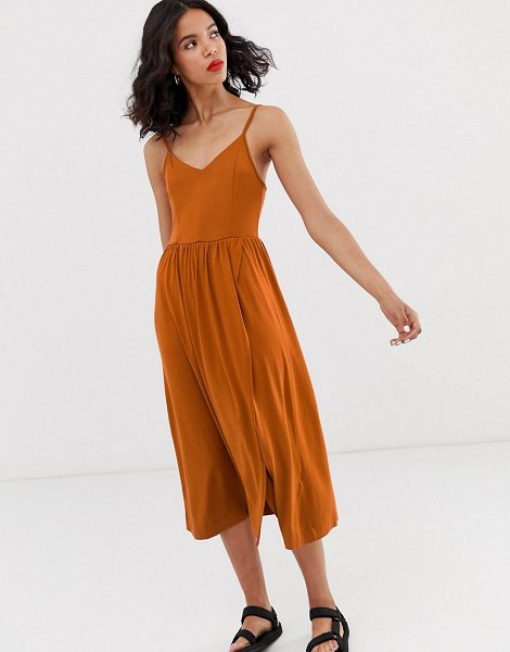 Monki wrap front cami dress in rust in brown