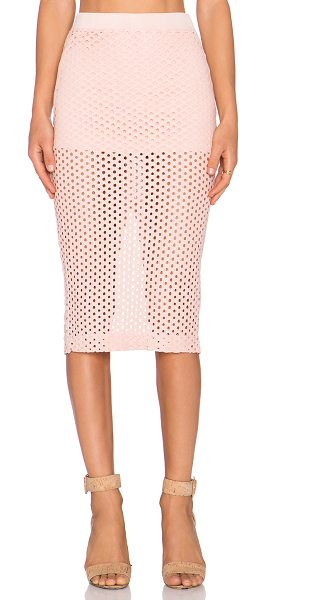 Monrow Crochet skirt in pink - Self: 75% cotton 23% nylon 2% spandexContrast: 48%...