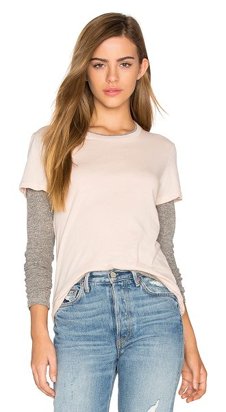 Monrow Double Layer Long Sleeve Tee in dusty pink - Cotton blend. Contrast color blocking. Jersey knit...