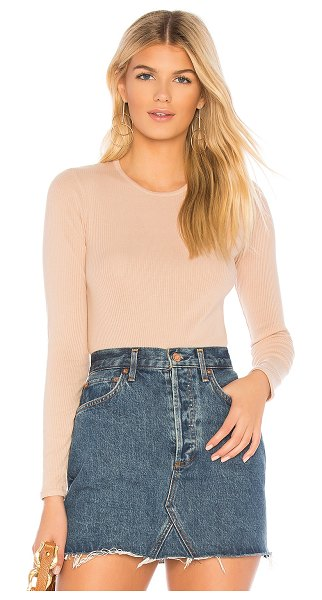 Monrow Long Sleeve Crew in tan - 50% poly 38% cotton 12% rayon. Rib knit fabric. Made in...