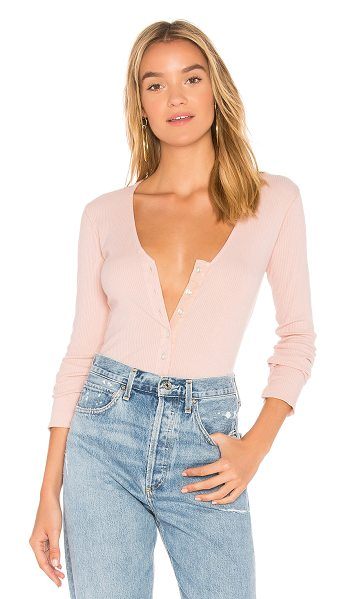 Monrow Long Sleeve V Neck Henley in blush - Self: 95% supima cotton 5% spandexContrast: 56% linen...