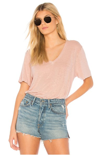 Monrow Oversized V Neck Tee in rose - Cotton blend. Burnout fabric. HARL-WS828. HT0437 5....