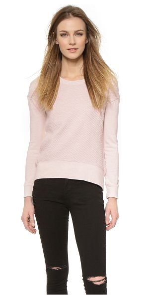 Monrow Quilted drop shoulder sweatshirt in bone