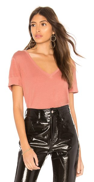 Monrow Rib Sleeve Tee in rose - 50% cotton 50% modal. Intentionally distressed detail....