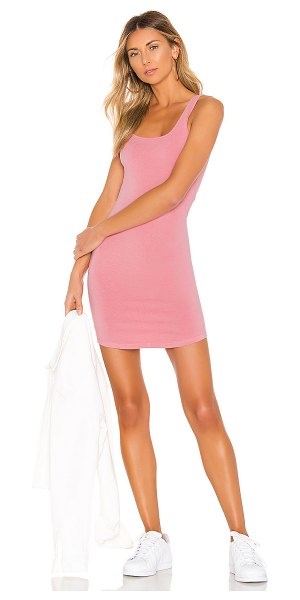 Monrow square neck tank dress in peachy pink