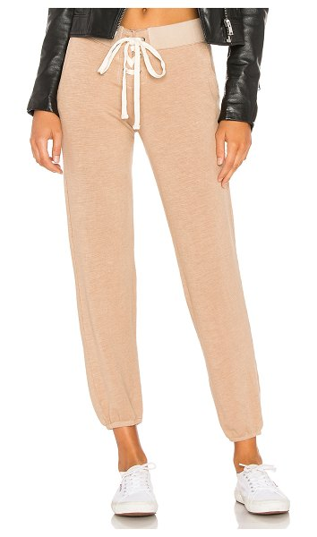 Monrow supersoft lace up sweatpant in pale nude
