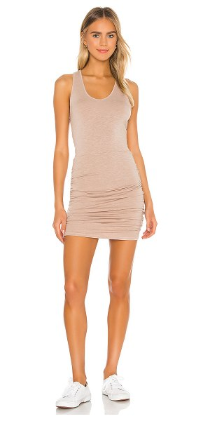 Monrow supersoft tank shirred dress in taupe