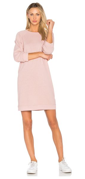 Monrow Vintage Sweatshirt Dress in pink - Cotton blend. Unlined. Banded edges. HARL-WD313. HD0168....