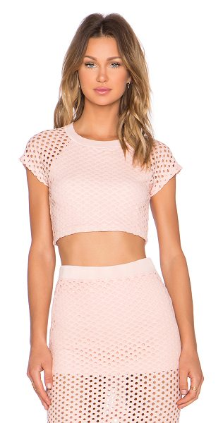 Monrow X revolve exclusive crochet crop top in blush - Self: 75% cotton 23% nylon 2% spandexContrast: 48%...