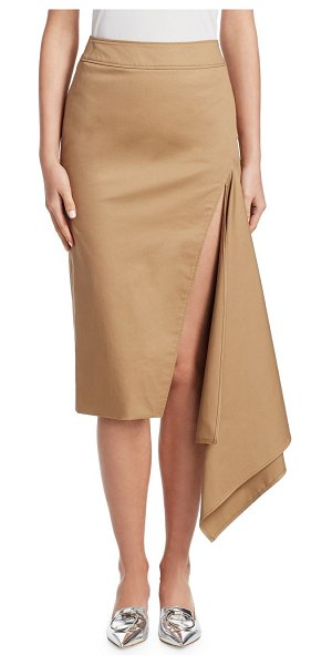 Monse cotton gabardine slash pencil skirt in khaki - Constructed from a classic menswear fabric, this...