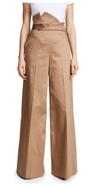 MONSE high waisted wide leg trousers in khaki - Fabric: Twill Wide-leg cut Full length Hidden zip at...