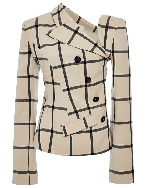 Monse Louise Plaid Twisted Jacket in brown - This twisted jacket by *Monse* features a notched...