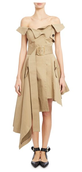 Monse Off-the-Shoulder Belted Asymmetric Dress in khaki - Monse canvas trench-inspired dress. Folded...
